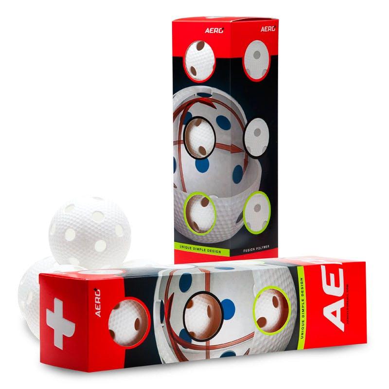 Aero Innebandyboll Vit 4-pack